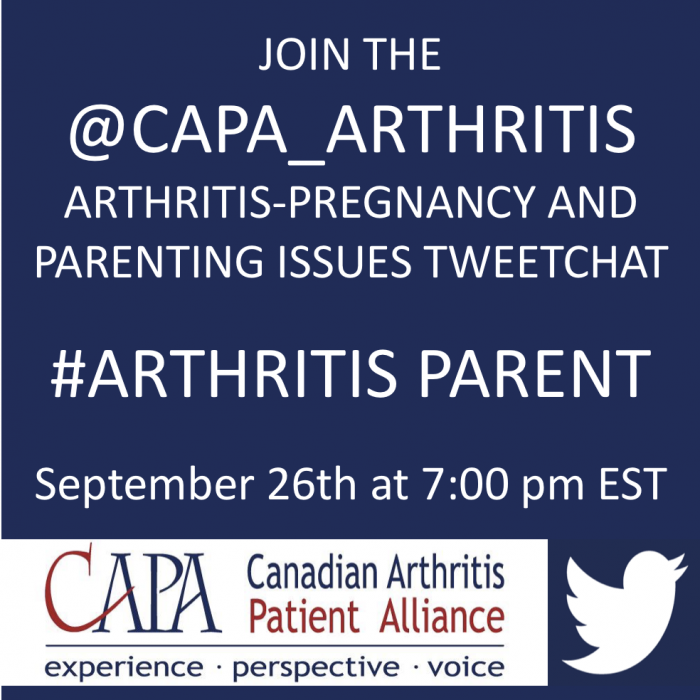 Canadian Arthritis Patient Alliance (CAPA) Graphic text: Join the @CAPA_arthritis arthritis-pregnancy and parenting issues tweetchat #arthritisparent September 26 at 7:00 pm est