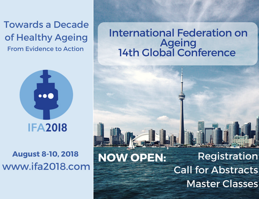 Postcard with information on the International Federation on Ageing's (IFA's) 14th Global Conference that is taking place at Ryerson University, Toronto, in August, 2018.