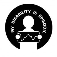 icon with words my disability is episodic, person holding a graph showing ups and downs